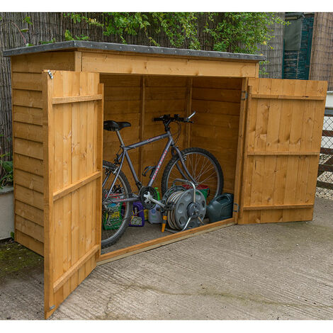 "6'x2'4"" (1.8x0.8m) Forest Dip Treated Overlap Bike Store"