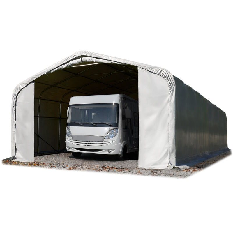 6x24m tente-garage de stockage, porte 4,1x2,9m, toile PVC d'env. 720 g/m², anti-feu