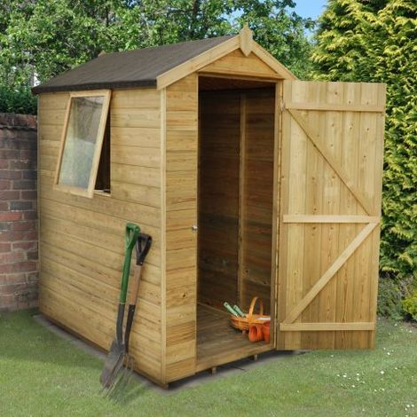 6'x4' Forest Tongue & Grooved Apex Shed Pressure Treated