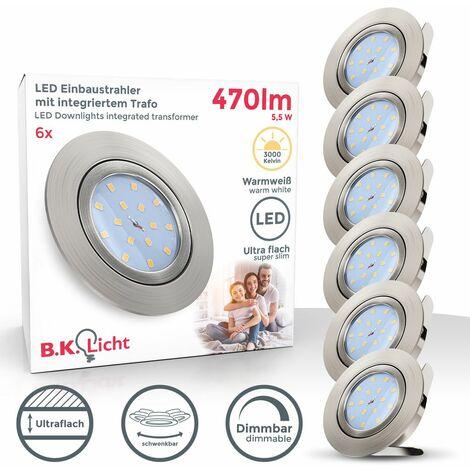 6x5,5W LED Focos empotrables extraplano Ø82mm GU10 blanco cálido 3000K, Downlight IP23