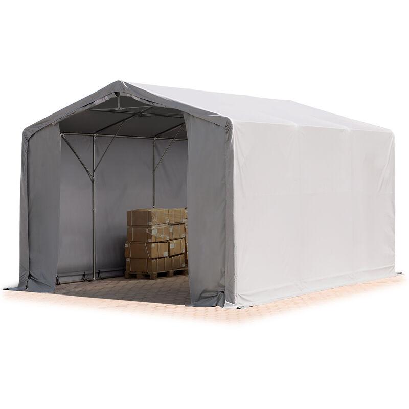 6x6m hangar INTENT24, PVC d'env. 550 g/m², H. 3m avec portes à fermeture Eclair