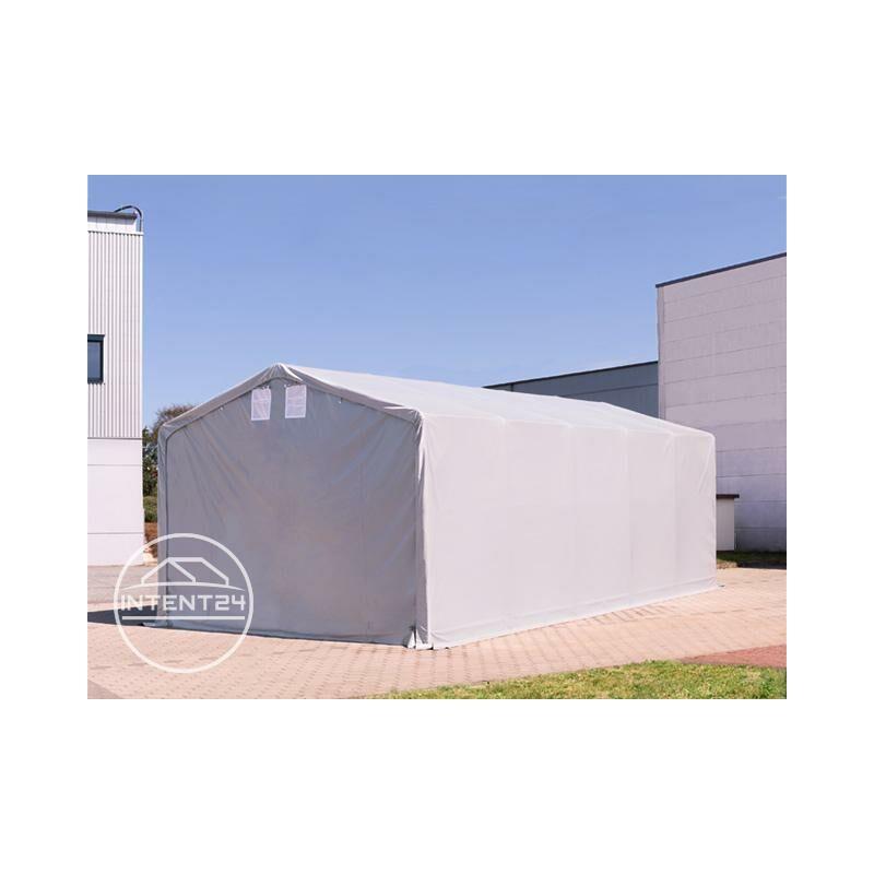 6x6m hangar INTENT24, PVC d'env. 720 g/m², anti-feu, H. 3m avec portes à fermeture Eclair