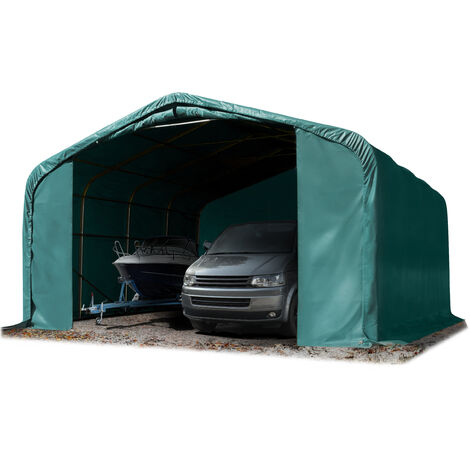 6x6m tente-garage de stockage, porte 4,1x2,9m, toile PVC d'env. 550 g/m²