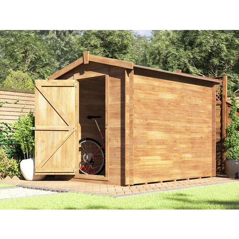 6x8 Heavy Duty Garden Shed Taarmo - Pressure Treated Wooden Storage Windowless Bike Tools with Roof Felt