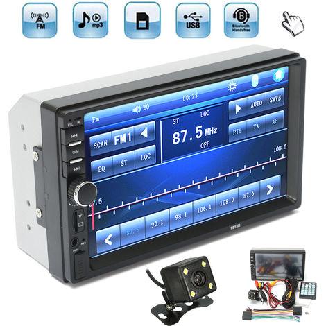 7'' 2 Din Voiture Bluetooth Autoradio Radio écran Tactile MP5 Stéréo AUX-IN FM USB SD TF + Caméra