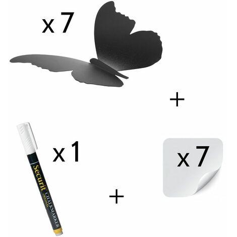 7 ardoises murales silhouette 3D noire modèle Papillon + 1 feutre-craie - Décoration murale ardoise décorative - Bois - 0,2 - Bois