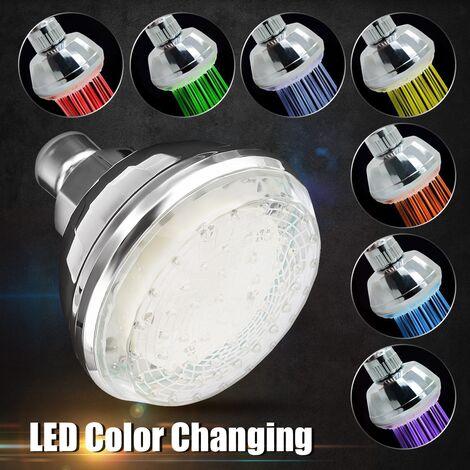 7 colores LED luz cambiante rociador de ducha de mano LED resplandor filtro de agua