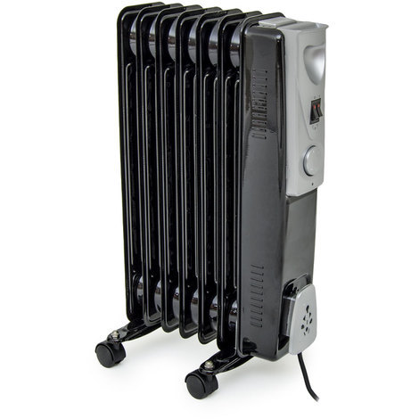 7 Fin 1.5kW Black Slimline Oil FIlled Radiator with Thermostat