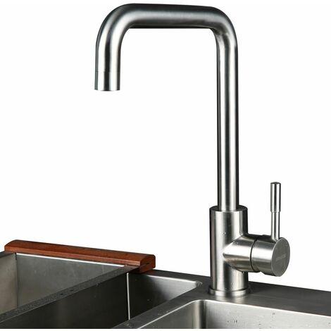 7-Forma 360 ° de Rotación Grifo de Cocina, Acero Inoxidable Cepillado, Grifo mezclador Agua Caliente y Fría