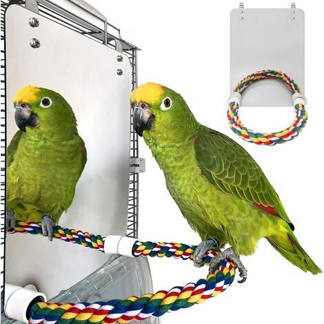 """main image of """"7 inch bird mirror with rope perch parrot mirror cage bird toy swing parrot cage toy parakeet parrot parrot parrot bird canary"""""""