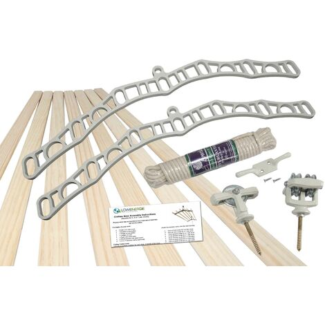 7 Lath Victorian White Clothes Airer Kit - Choice Of Wooden Lath Lengths - 1m