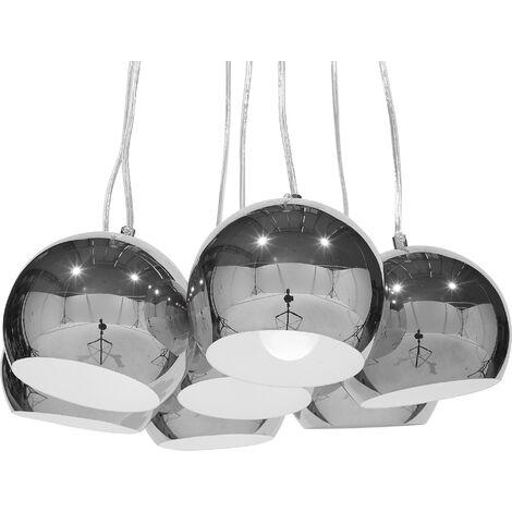 7 Light Cluster Pendant Lamp Silver OLZA