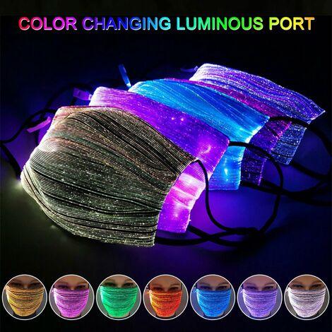 7 luces de color LED iluminan la mascarilla, mascara de polvo luminosa que brilla intensamente recargable por USB