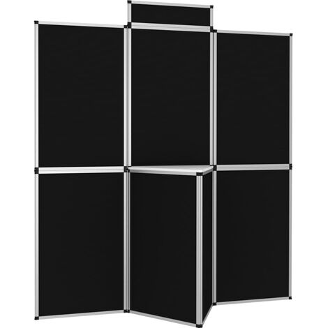 7-Panel Folding Exhibition Display Wall with Table Black
