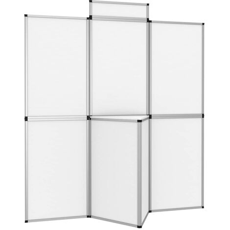 7-Panel Folding Exhibition Display Wall with Table White