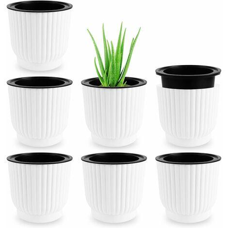 7 Pcs Pot à Fleurs d'arrosage Automatique, Pots de Fleurs, Pots de Fleurs Auto Arrosants d'intérieur Extérieur, Pots de Jardinière à Arrosage, Home Décoration Pots Fleurs Automatique Blanc
