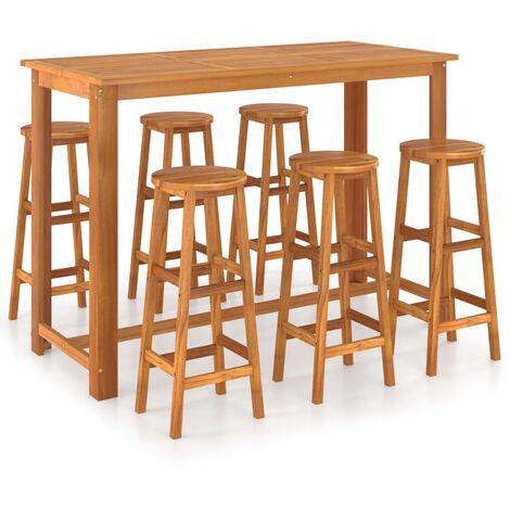 7 Piece Bar Set Solid Acacia Wood
