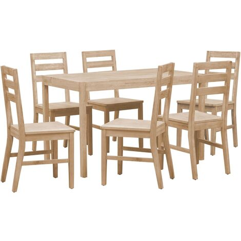 7 Piece Dining Set Solid Acacia Wood - Brown