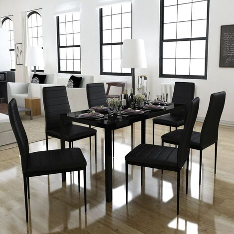 7 Piece Dining Table Set Black
