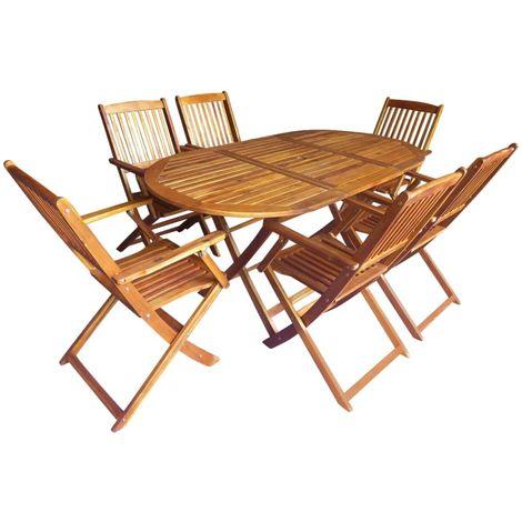 7 Piece Folding Outdoor Dining Set Solid Acacia Wood