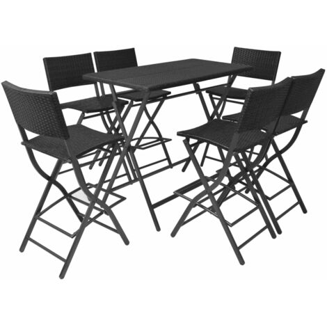 7 Piece Folding Outdoor Dining Set Steel Poly Rattan Black