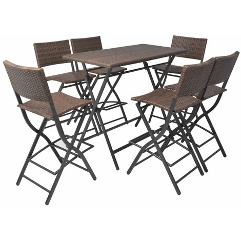 7 Piece Folding Outdoor Dining Set Steel Poly Rattan Brown