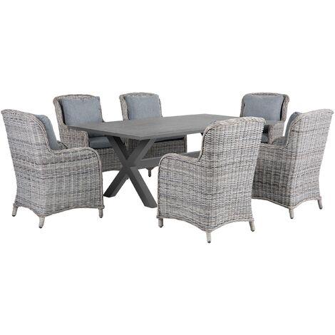 7 Piece Garden Dining Set Faux Rattan Grey Chairs Aluminium Table Outdoor Cascais