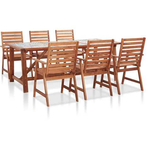 7 Piece Garden Dining Set Mosaic Tile Top and Solid Acacia Wood