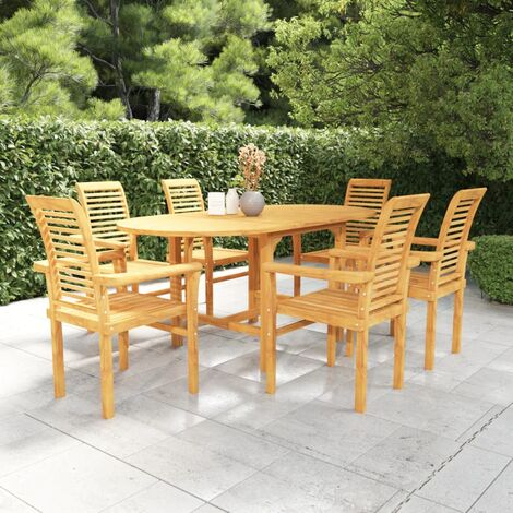 7 Piece Garden Dining Set Solid Teak Wood