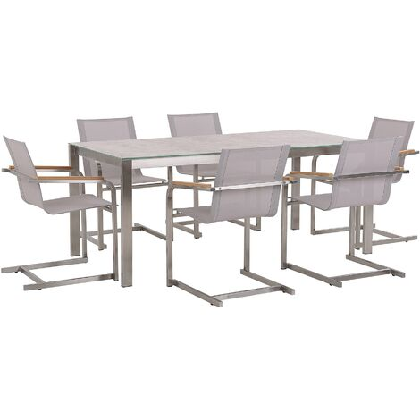 7 Piece Garden Dining Set Table Ceramic Top 6 Cantilever Chairs Beige Consoleto