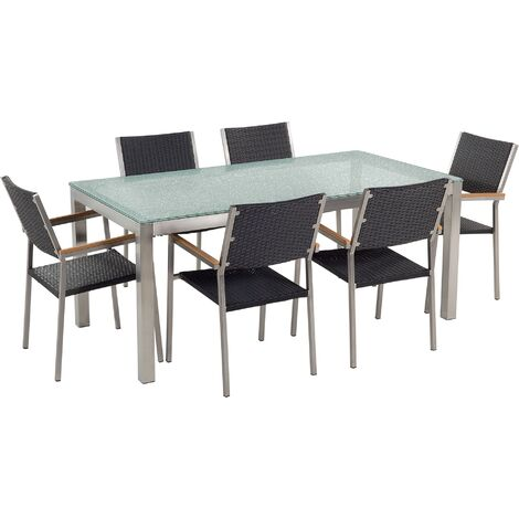 7 Piece Garden Dining Set Tempered Glass Table and Black Rattan Chairs Grosseto