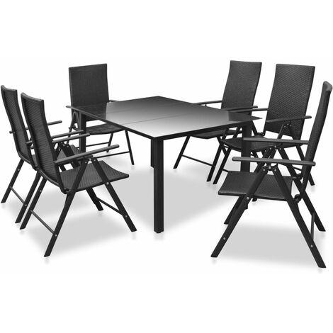 7 Piece Outdoor Dining Set Aluminium and Poly Rattan