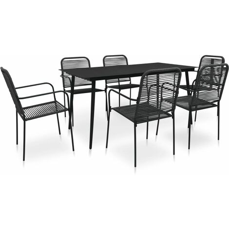 7 Piece Outdoor Dining Set Cotton Rope and Steel Black