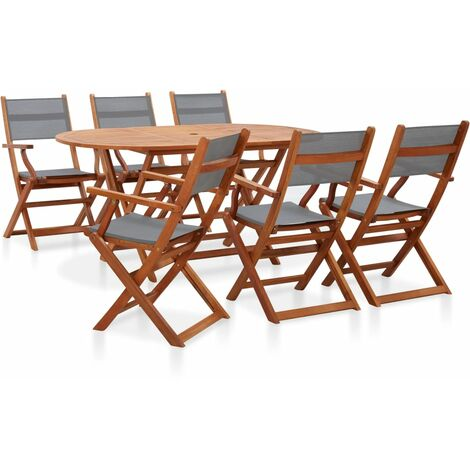 7 Piece Outdoor Dining Set Grey Solid Eucalyptus Wood and Textilene
