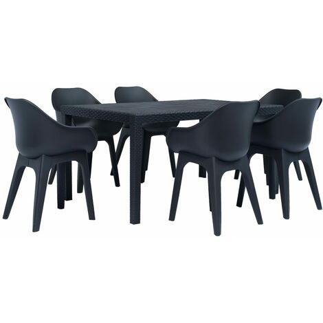 7 Piece Outdoor Dining Set Plastic Anthracite