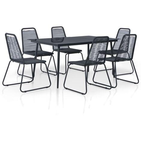 7 Piece Outdoor Dining Set Poly Rattan Black