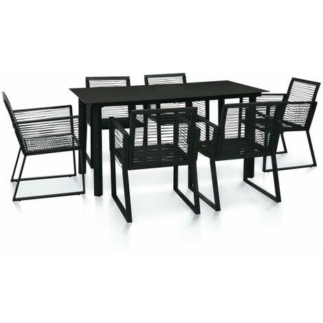 7 Piece Outdoor Dining Set PVC Rattan Black