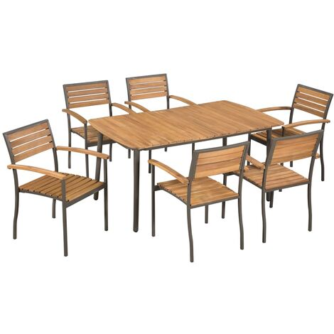 7 Piece Outdoor Dining Set Solid Acacia Wood and Steel