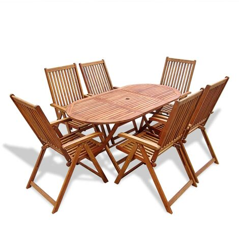 7 Piece Outdoor Dining Set Solid Acacia Wood - Brown