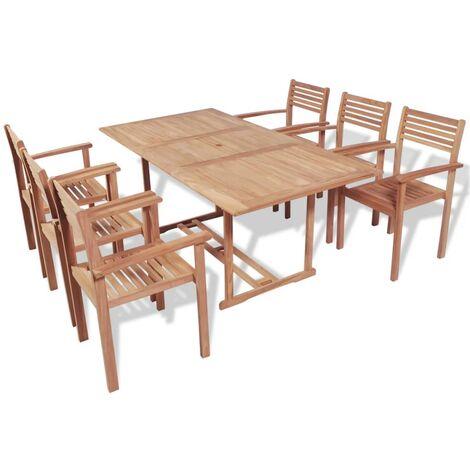 7 Piece Outdoor Dining Set Solid Teak Wood - Brown