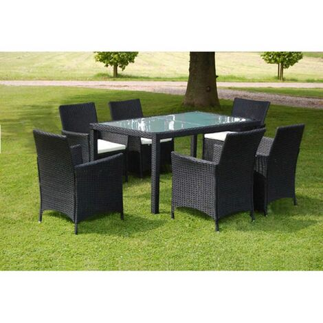 7 Piece Outdoor Dining Set with Cushions Poly Rattan Black