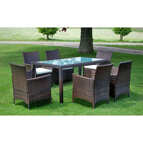 7 Piece Outdoor Dining Set with Cushions Poly Rattan Brown