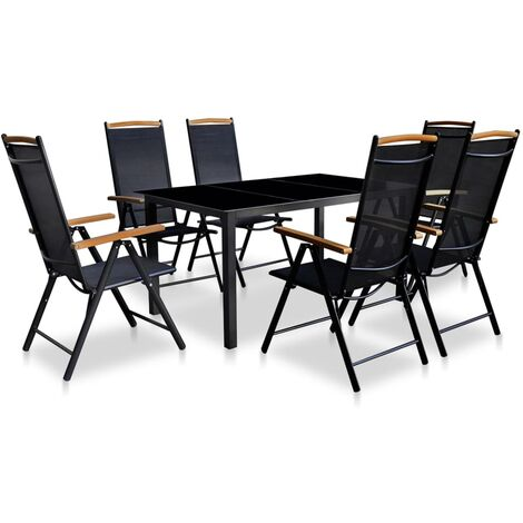 7 Piece Outdoor Dining Set with Folding Chairs Aluminium Black