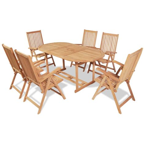 7 Piece Outdoor Dining Set with Folding Chairs Solid Teak Wood - Brown