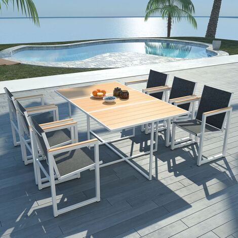 7 Piece Outdoor Dining Set with WPC Tabletop Aluminium