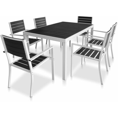 7 Piece Outdoor Dining Set with WPC Tabletop Aluminium Black