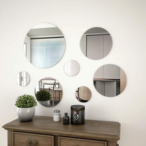 7 Piece Wall Mirror Set Round Glass - Silver