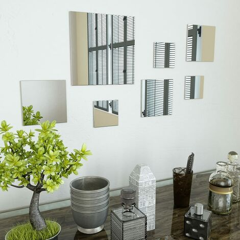 7 Piece Wall Mirror Set Square Glass - Silver
