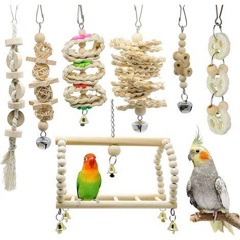 7 pièces à mâcher jouet perroquet jouet oiseau, adapté aux oiseaux, perroquets, perruches, perruches, aras, inséparables