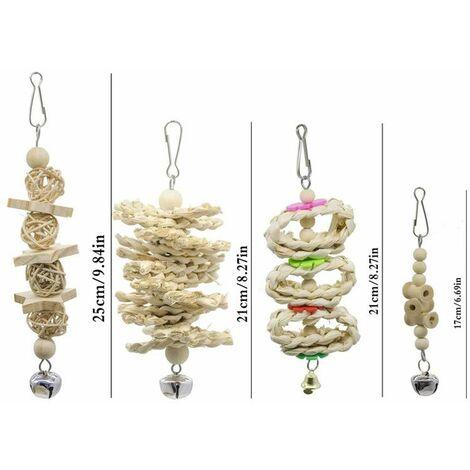 """main image of """"7 pièces à mâcher jouet perroquet jouet oiseau, adapté aux oiseaux, perroquets, perruches, perruches, aras, inséparables"""""""
